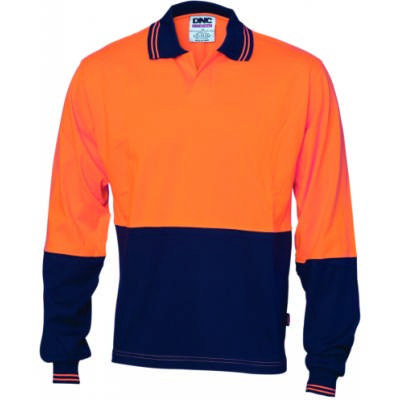 200 gsm HiVis Cool-Breeze Cotton Jersey Food Industry Polo with Under Arm Airflow Vents, L/S