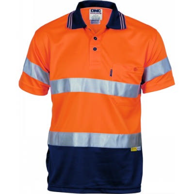 175gsm Polyester HiVis D/N Cool Breathe Polo Shirt with 3M8906 R/Tape, S/S