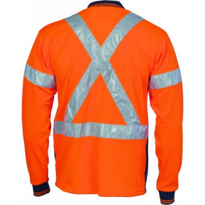 175gsm Polyester HiVis D/N Micromesh Polo Shirt with Cross Back CSR R/Tape, L/S