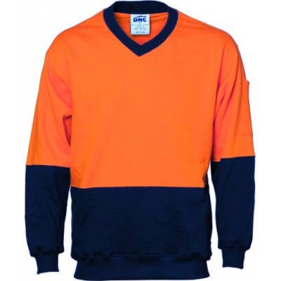 300gsm Hi-Vis Two Tone Cotton Fleecy Sweat V-Neck Shirt