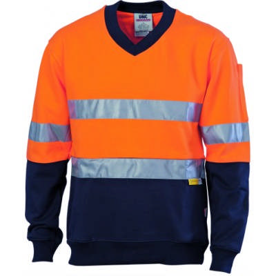 300gsm Hi-Vis Two Tone Cotton Fleecy Sweat Shirt V-Neck with 3M8906 R/Tape