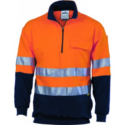 300gsm Hi-Vis Two Tone 1/2 Zip Cotton Fleecy Wincheater with 3M8906 R/Tape