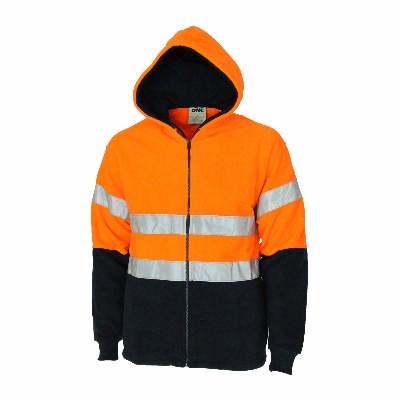 300gsm Polyester Hi-Vis 2 tone full zip polar fleece hoodie with CSR R/tape