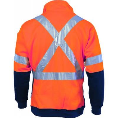300gsm Hi-Vis D/N Polyester Cotton 2 Tone 1/2 Zip Fleecy Sweater Shirt with Cross Back CSR R/Tape