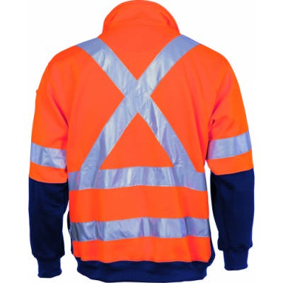300gsm Hi-Vis D/N Polyester Cotton 2 Tone 1/2 Zip Fleecy Sweater Shirt with Cross Back & Additional