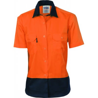 190gsm Ladies HiVis Two Tone Cotton Drill Shirt, S/S