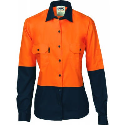 190gsm Ladies HiVis Two Tone Cotton Drill Shirt, L/S