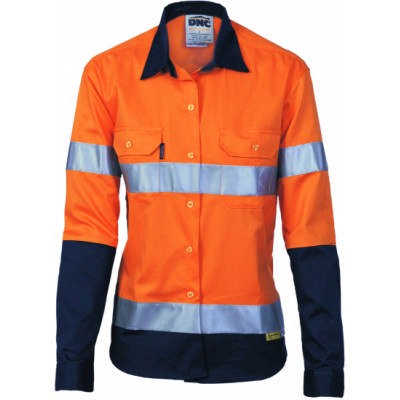 190gsm Ladies HiVis Two Tone Cotton Drill Shirt with 3M8906 R/Tape, L/S
