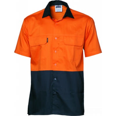 155gsm HiVis 3 Way Cool-Breeze Cotton Shirt with Under Arm & Uper Back Airflow Vents, S/S