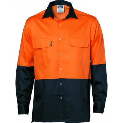 155gsm HiVis 3 Way Cool-Breeze Cotton Shirt with Under Arm & Uper Back Airflow Vents, L/S