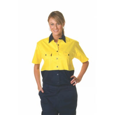 155gsm Ladies HiVis Two Tone Cool-Breeze Cotton Drill Shirt with Under Arm Airflow Vents, S/S