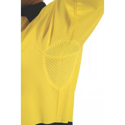 190gsm HiVis Food Industry Cool-Breeze Cotton Shirt with Under Arm Airflow Vents, L/S