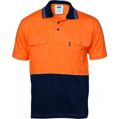 200gsm HiVis Cool-Breeze Cotton Jersey Polo Shirt with Twin Chest Pocket with Under Arm Cotton Mesh