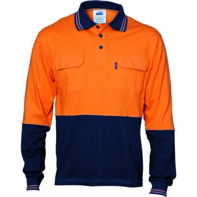 HiVis Cool-Breeze 2Tone Ctn Jersey Polo w/ Twin Chest Pocket-LS