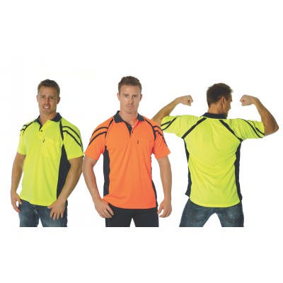 175gsm HiVis Cool-Breathe Stripe Panel Polo,S/S