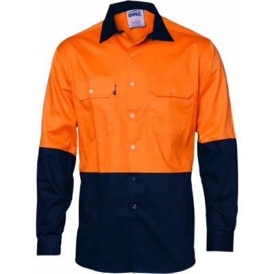 190gsm HiVis 2 Tone 190gsm Cotton Drill Vented Shirt with Under arm Airflow Vents, L/S