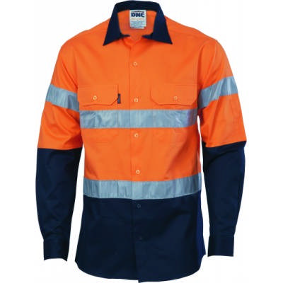 190gsm HiVis 2 Tone 190gsm Cotton Drill Vented Shirt with Under arm Airflow Vents, Hoop Pattern CSR