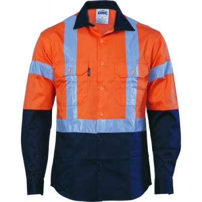 190gsm HiVis 2 Tone Cotton Drill Vented Shirt with Under arm Airflow Vents, H Pattern CSR R/Tape,