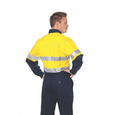 155gsm HiVis Two Tone Cool-Breeze Cotton Shirt with Under Arm & T1 Vertical Back Airflow Vents, CSR