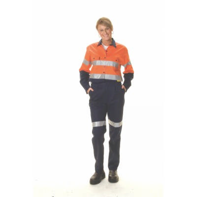 155gsm Ladies HiVis Two Tone Cool-Breeze Cotton Drill Shirt with Under Arm Airflow Vents, 3M8906 R/T