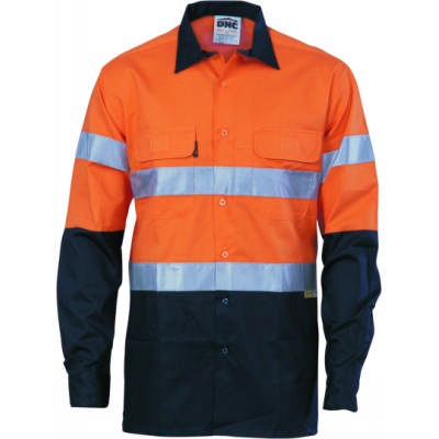 155gsm HiVis Two Tone Cool-Breeze Cotton Shirt with Under arm Airflow Vents, 3M8906 R/Tape, L/S