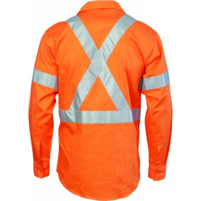 190gsm HiVis Cotton Drill Vented Shirt with Cross Back CSR R/Tape, L/S