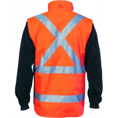 200D Polyester/PVC, HiVis 4 in 1 Zip off Sl eeve Revisabl e Vest,�X` Back with additional