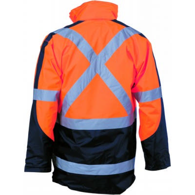 HiVis 2Tone Cross Back DN 2 In 1 Contrast Rain Jacket