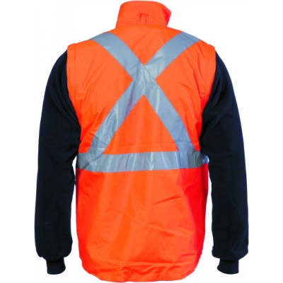 200D Polyester/PVC HiVis D/N 4 in 1 Zip off Sleeve Revisable Vest with `X` Back CSR R/Tape