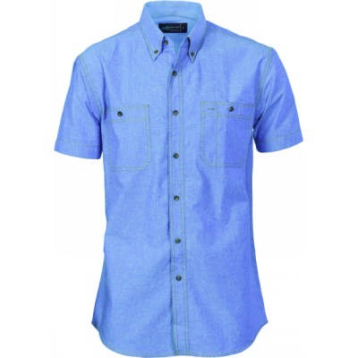155gsm Cotton Chambray Shirt, Twin Pocket, S/S