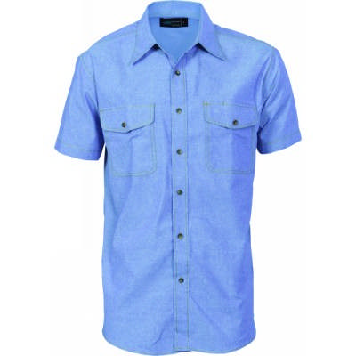 155gsm Twin Flap Pocket Cotton Chambray Shirt, S/S