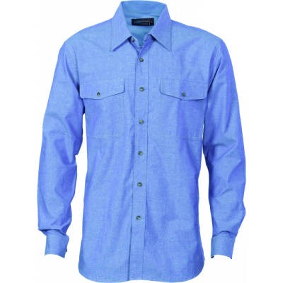 155gsm Twin Flap Pocket Cotton Chambray Shirt, L/S