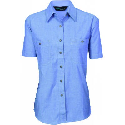 155gsm Ladies Cotton Chambray Shirt, S/S