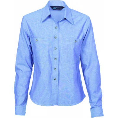 155gsm Ladies Cotton Chambray Shirt, L/S