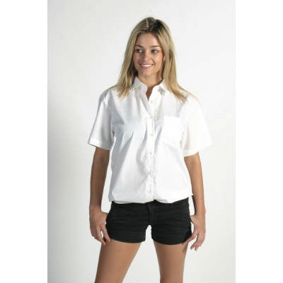110gsm Polyester Cotton Ladies Poplin Shirt, S/S