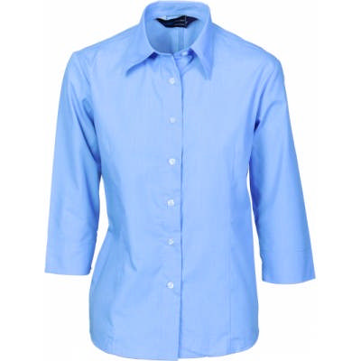 110gsm Polyester Cotton Ladies Chambray Shirt, � Sleeve