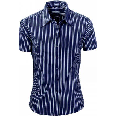 120gsm 60% Cotton Ladies Stretch Yarn Dyed Contrast Stripe Shirts, S/S