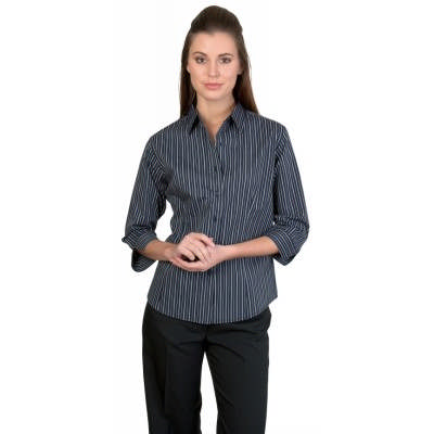120gsm 60% Cotton Ladies Stretch Yarn Dyed Contrast Stripe Shirts, 3/4 Sleeve