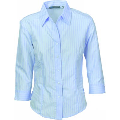 120gsm 60% Cotton Ladies Tonal Stripe Shirt, 3/4 Sleeve