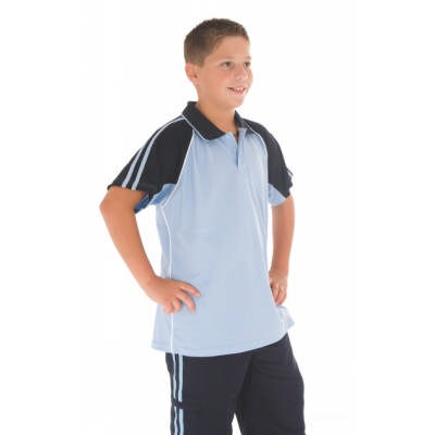 175gsm Polyester Kids Cool-Breathe Twin Stripe Contrast Raglan Polo