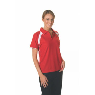 220gsm Polyester Cotton Ladies Contrast Raglan Panel Polo