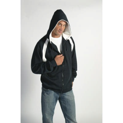 300gsm Polyester Cotton Mens Contrast Panel Fleecy Top with Hood