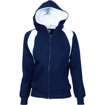 300gsm Polyester Cotton Ladies Contrast Panel Fleecy Top with Hood