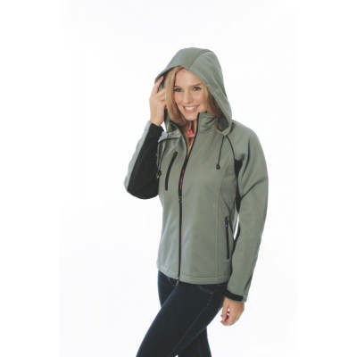 300gsm Polyester Ladies Full Zip Swiss Soft Shell Contrast Jacket