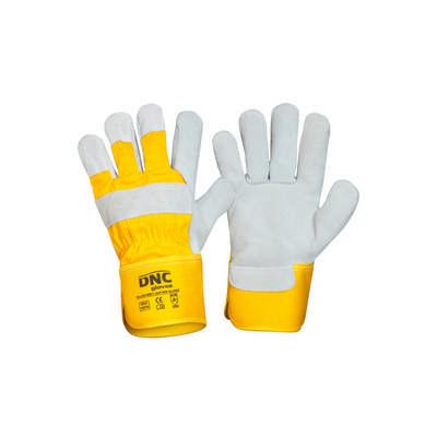 Yellow Premium Grey Leather Glove