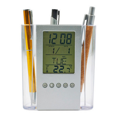 ABS pen holder with clock (3684_EUB)