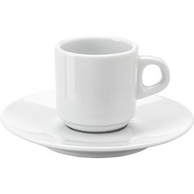 Stackable porcelain cup and saucer (70 ml) (3474_EUB)