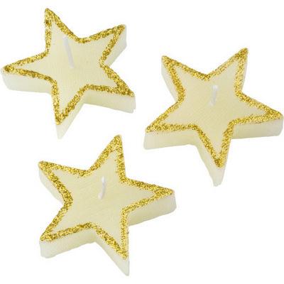 Three star-shaped candles (5188_EUB)