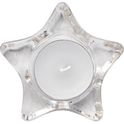 Star-shaped glass candle holder, including candle (5836_EUB)