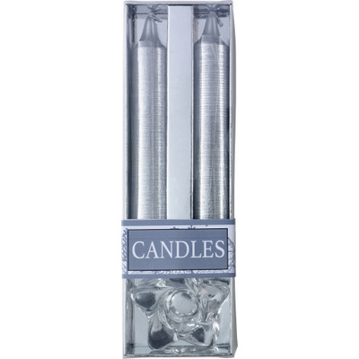 Two glitter candles with glass holder (8217_EUB)